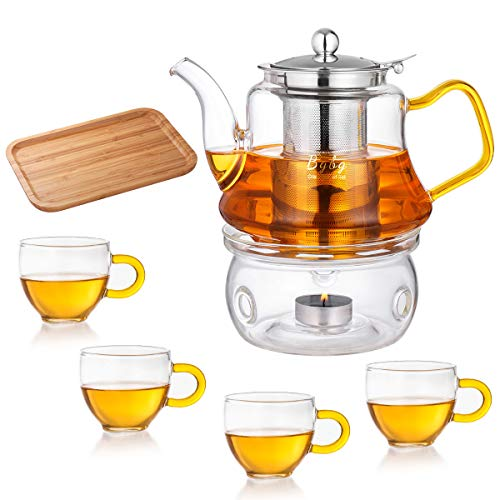 800ml Glass Teapot Set with Warmer Pot + Bamboo Tray Stovetop Safe Tea Set Stainless Steel Tea Infuser and 4 Teacups Blooming Loose Leaf Tea Pot for Home Office Travel Business