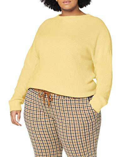 TOM TAILOR Damen Rib Mock Neck Pullover, 22234-honey Popcorn, S