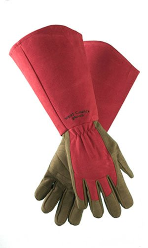 West Chester Protective Gear 054R/S West County Gardener Gauntlet Rose Gloves – Small, Ruby, Gardening Gloves w/ Elastic Wrist, Reinforced Fingers, Palm, and Thumb