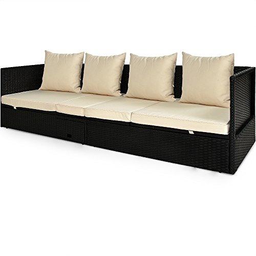 Deuba Poly Rattan Lounge Liege Verstellbare Lehne Auflagen & Kissen 3 Sitzer Klapptisch Garten Sofa Couch Gartenliege