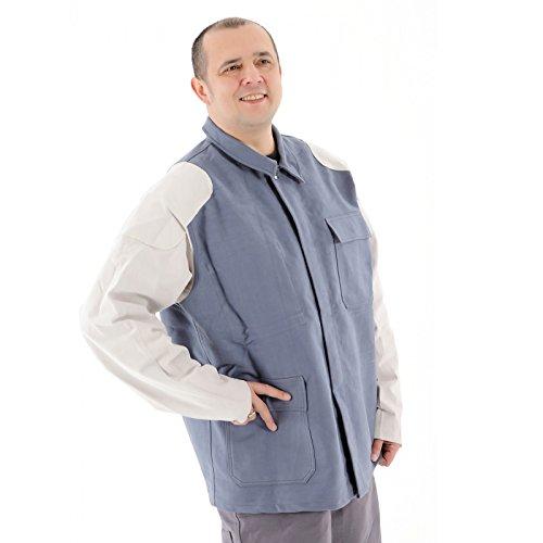 Schweißerjacke Schweißerschutzkleidung Jacke mit Flammentin Ausrüstung Lederbesatz 100% Baumwolle Größenwahl, Größe:46