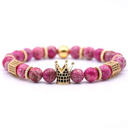 GIAOYAO Pulsera de Piedra Mujer, 7 Chakra Natural Rose Red Crack Piedra Bangle Brazalete Elástico Yoga Pulsera Pulsera Golden Crown Lucky Jewelry para mamá, Novia