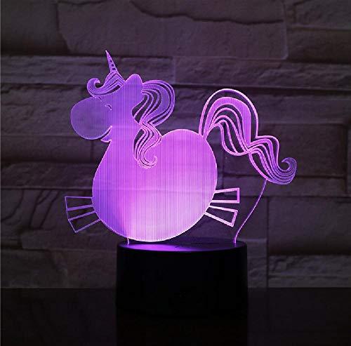 Lámpara LED 3D Luz de la noche Preciosa Gran vientre Unicornio Caballo Bombilla Decoración del partido Regalo de Navidad Dibujos animados