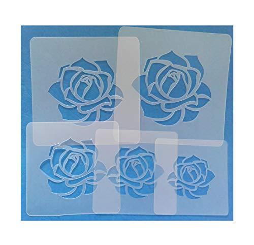 Schablonen Set ● 5 einzelne Rosen ● 6,5cm, 8cm, 9cm, 10cm und 11cm groß