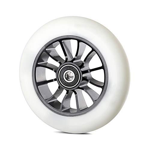 Byjia Ruedas de Repuesto para Scooter de 110 mm, Ruedas Gruesas de PVC para Scooter con rodamiento ABEC-9, se Adapta a la mayoría de los Scooters de Estilo Libre,Blanco,2pcs