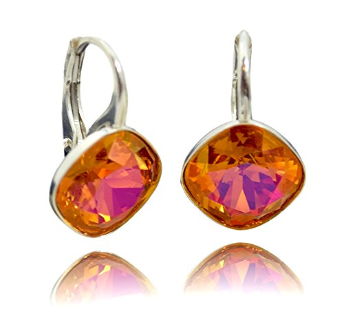 Crystals & Stones *RHOMBUS SQUARE* *Astral Pink* Silber 925 - Ohrringe mit Kristallen von Swarovski® - Schön Ohrringe Damen Ohrhänger - Wunderbare Ohrringe mit Schmuckbox