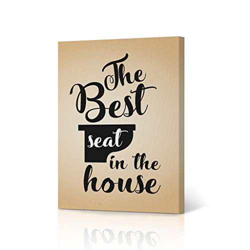 HB Art Design The Best Seat in The House Vintage Funny Bathroom Quote Saying Canvas Print Wall Art Bathroom Decor Farmhouse Bathroom Sign Accessories Toilet Best Gift Ready to Hang 12x8 inches