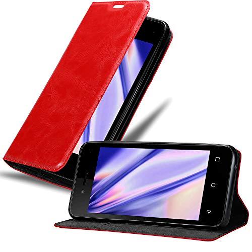 Cadorabo Hülle für WIKO Sunny 3 Mini in Apfel ROT - Handyhülle mit Magnetverschluss, Standfunktion & Kartenfach - Hülle Cover Schutzhülle Etui Tasche Book Klapp Style