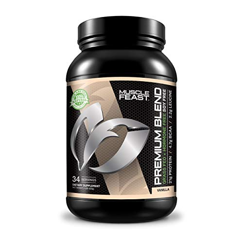 Muscle Feast Grass Fed Premium Blend Whey Protein, Hydrolyzed Whey, Isolate, Micellar Casein, Kosher Certified, 21g Protein, 100 Calories (Vanilla, 2lb)