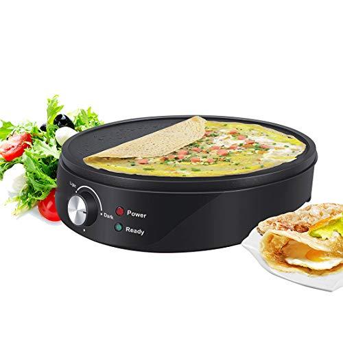ZAHNG Crepe eléctrica Cafetera, Plancha Antiadherente Pizza Pancake Rollo empanada de la...