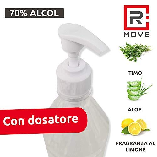 RMOVE gel igienizzante mani antibatterico 70% ALCOL disinfettante mani profumato al limone arricchito con olii essenziali di Aloe e Timo (2, litri)