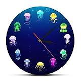 Reloj De Acrílico 30cm Reloj de Pared de Medusas oceánicas con Estampado Colorido, decoración de Acuario de guardería, jaleas Marinas, Reloj de Pared Decorativo, Arte de Pared de Animales Marinos