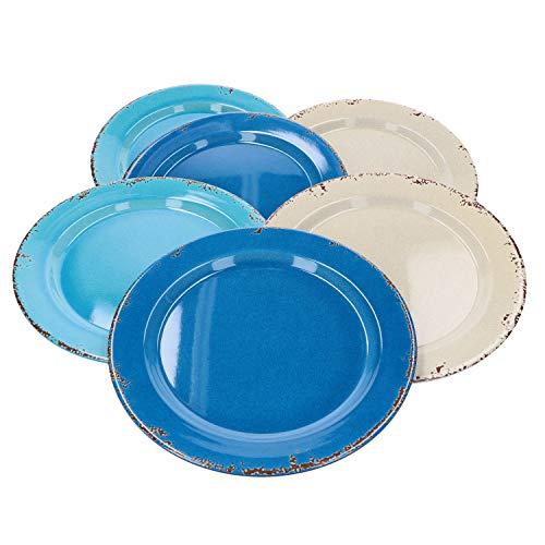 MamboCat Set di stoviglie in melamina per 6 persone, set di piatti Ø 25,5 cm, piatto universale grande, plastica resistente e lavabile in lavastoviglie, 6 pezzi colorati