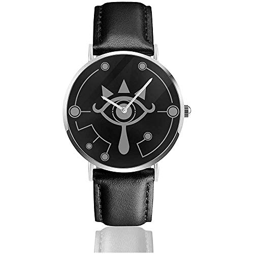 Legend of Zelda Breath of The Wild Sheikah Eye White Watches Montre en Cuir à Quartz avec Bracelet en Cuir Noir
