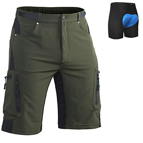 Ally Mens MTB Mountain Bike Short Bicycle Cycling Biking Riding Shorts Cycle Wear Relaxed Loose-fit (Green, L)