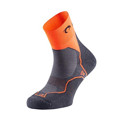 LURBEL Desafio Four, Calcetines de Trail Running, Calcetines Transpirables y Anti-Olor, Calcetines Anti-ampollas, Calcetines sin costuras outdoor, Calcetines Unisex. (MEDIANO - M, MARENGO - NARANJA)