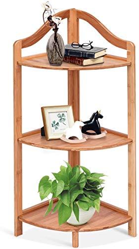 RELAX4LIFE Eckregal Bambus, Standregal mit 3 Fächern, stabiles Bücherregal mit Stützfüßen, Eckschrank für Badezimmer & Wohnzimmer & Balkon, Badregal bis zu 45 kg belastbar, 33 x 33 x 85 cm, Natur