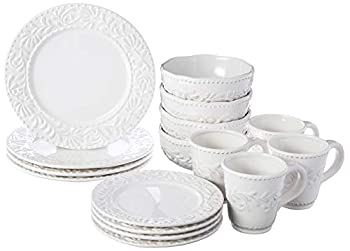 American Atelier Round Dinnerware Sets   White Kitchen Plates Bowls and Mugs   16 Piece Bianca Leaf Collection   Dishwasher and Microwave Safe   Service for 4