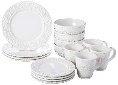 American Atelier 16 Piece Bianca Leaf Round Dinnerware Set, White