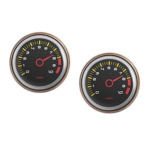 Mylery Ohrstecker Paar mit Motiv Drehzahl-Messer DZM RPM Umdrehungen Instrument Anzeige Carbon bronze 16mm