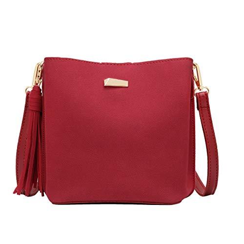 CRAZYCHIC - Damen Kleine Umhängetasche Handtasche - Beuteltasche Schultertasche Wildleder PU - Hobo Bucket Bag - Franse Quaste Abendtasche - Mode Elegant - Bordeaux Rot