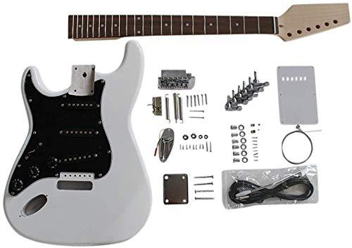 GD4444 Coban Guitars Zurdo US Fresno Guitarra Eléctrica Kit construcción para estudiante & Luthier Proyectos - Blanco Golpeador, Full size