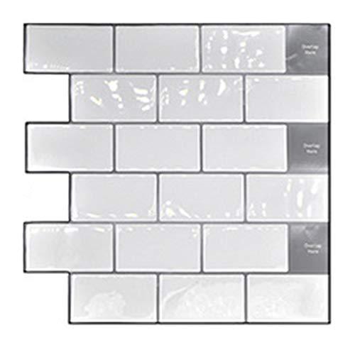 Rosepoem Adhesivo 3D para azulejos de pared, autoadhesivo, para cocina, baño, color blanco