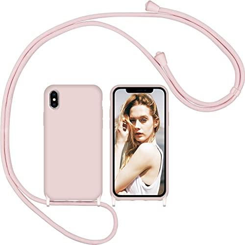 Nupcknn Funda Silicona Líquida con Cuerda para iPhone X/iPhone XS, Carcasa Suave Silicona Case con Correa Colgante Ajustable Collar Correa de Cuello Cadena Cordón(Oro Rosa)