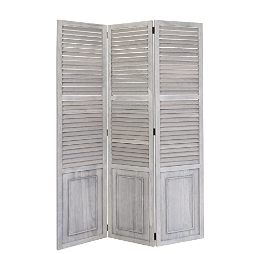 Homestyle4u 1363, Paravent Raumteiler 3 teilig, Holz Lamellen, Vintage Grau