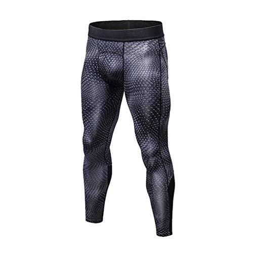WanYangg Compression Leggings Hombre Deportiva Secado Rapido Pantalones Compresión Running Apretadas Tights Larga Base Mallas Compresivas Correr Fitness Ejercicio Escala de 19 Serpientes Negro M