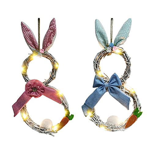 KELITINAus Easter Wreath,Led Lights Easter Wreath,Easter Artificial Rattan Wreath, for Easter Front Door Decorations,Blue,Pink