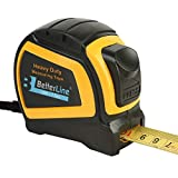 Heavy Duty Measuring Tape 7.5 Metres (25 Feet by 1-inch) / Nylon-Bonded Sturdy Matte Blade/Auto-Lock Mechanism/Belt Clip & Strap/Meters & Inches - by BetterLine