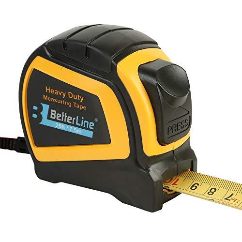 Maßband für Schwereinsatz von BetterLine 25 Fuß mal 1 Zoll (7,5 Meter x 2,5 cm) / Nylon beschichtetes stabiles mattes Band/Auto-Sperr-Mechanismus/Gürtelclip & Gurt/Meter & Zoll