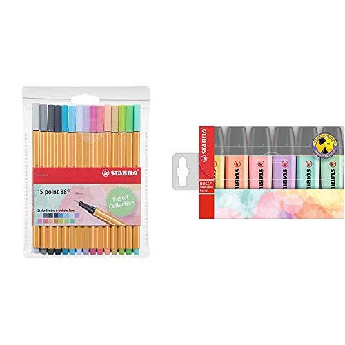 STABILO punto 88–Confezione di pennarelli punta fine -Fluorescenti Coloris pastel & Boss Original Pastel Evidenziatore - Astuccio da 6