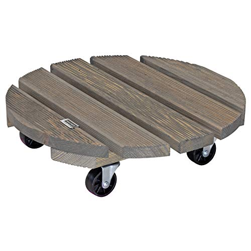 WAGNER Chariot de Plantes Vintage Ø 38 x 10 cm | pour l'intérieur + l'extérieur | Support Roulant antidérapant, Bois Massif certifié FSC®, Vintage| Capacité de Charge 150 kg | Made in EU - 20086501