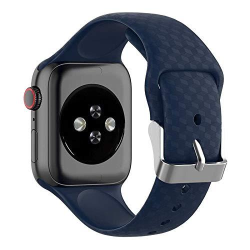 Hspcam Correa de textura 3D para Apple Watch Band 44mm 40mm Sport Silicona correa reloj pulsera iWatch 38mm 42mm Serie 3 4 5 SE 6 Band (38mm o 40mm, azul marino)
