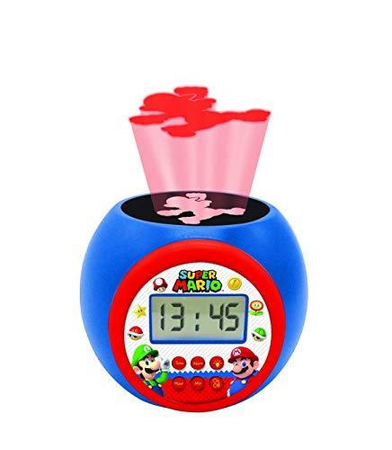 Lexibook RL977NI Projector-Wecker Nintendo Mario Bross Luigi mit Schlummerfunktion und Weckfunktion, Nachtlicht mit Timer, LCD-Bildschirm, Batteriebetrieb, Blau/Rot