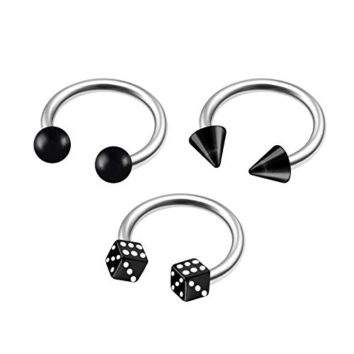 3Pcs Steel 16g 5/16 8mm Horseshoes Ring Piercing Jewelry Eyebrow Lip Rook Helix Tragus 3mm Black Cone Ball Dice Acrylic M9916