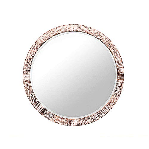 GiftTrove 24' Wooden Round Wall Mirror Decor, Rustic Circle Wall-Mounted Mirror with Beveled, Wood Accent Mirror for Farmhouse, Entryway, Living Room (Washed White)