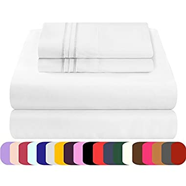 Mezzati King Size Sheets Set - Soft and Comfortable 1800 Prestige Collection - Brushed Microfiber Bedding (White, King Size)