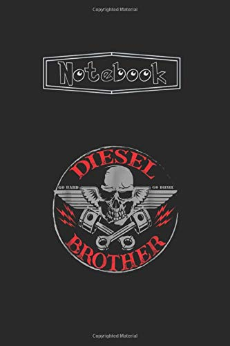 Notebook: Diesel Power Truck Turbo Brothers MechanicLined Pages Journal Notebook Medium Size 6''x9'' White Paper Blank with Black Cover 111 Pages Cute Gift for Kids - Students And Teachers.