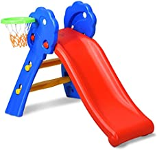 Baby Joy Folding Slide, Indoor First Slide Plastic Play Slide Climber Kids (Floral Rail +Basketball Hoop)