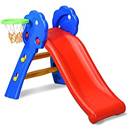 BabyJoy Folding Slide with Basketball Hoop and Net