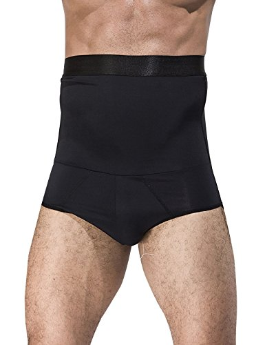 AIEOE - Calzoncillos Adelgazantes Cintura Alta con Faja Reductora de Abdomen Plano Slimming Shapewear para Hombre, Negro, EU L (talla fabricante XL)