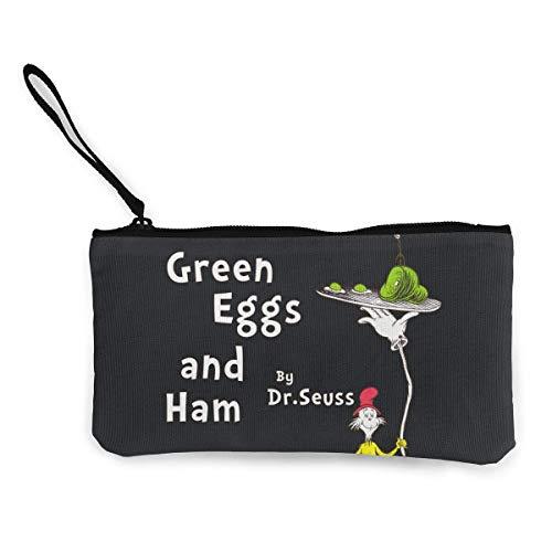 shibeili Huevos Verdes Frescos y jamón por el Dr. Seuss Mujer Carteras Monedero Pequeño Monedero Lona