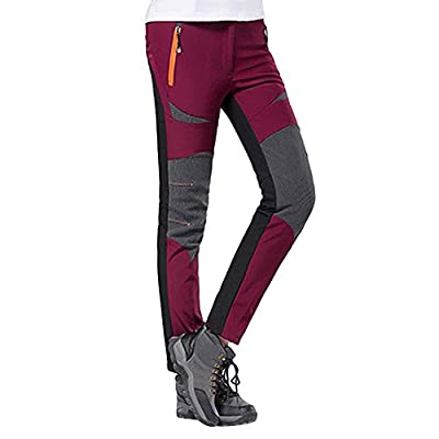 JOFOW Womens Hiking Pants Warm Plus Size High Waisted Windproof Color Block Patchwork Outdoor Sport Trouser Winter