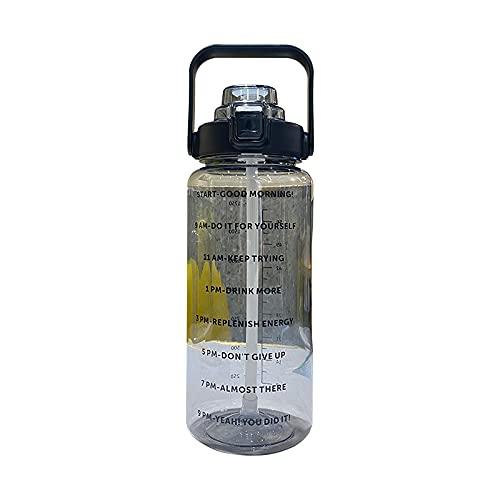Botella de agua deportiva de plástico para gimnasio, ciclismo, fútbol, senderismo, color negro