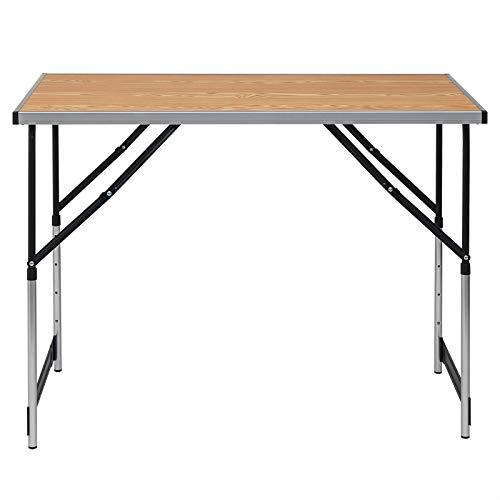 eSituro Campingtisch Alu Klapptisch höhenverstellbar 100x60x73-94cm Falttisch Picknicktisch, Tischplatte aus MDF, Eiche