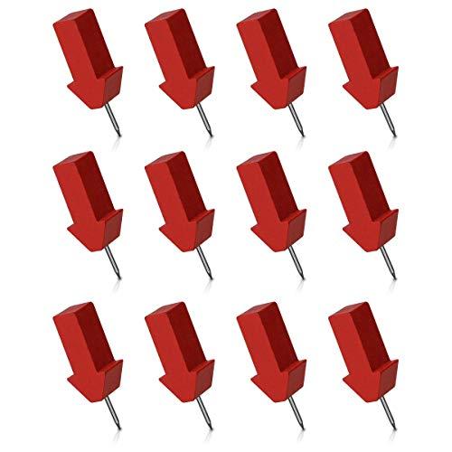 Navaris Set de 12x chincheta en forma de flecha - Chinchetas de madera para tablero de corcho o mapas de pared - Pins para marcar viajes en mapa-mundi