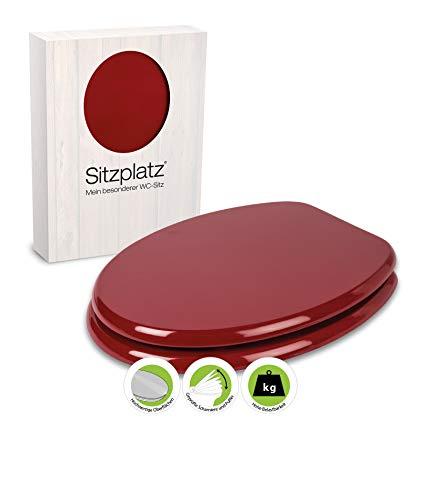 SITZPLATZ® WC-Sitz Venezia in Rot, mit Metallscharnieren und robustem Holzkern, Toilettensitz in Standard O-Form universal, mit Holz-Kern, Klobrille und Klodeckel in Dunkelrot, 21898 6